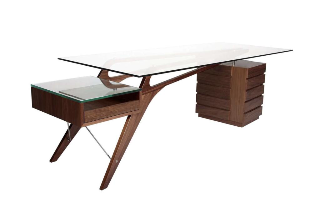 Walnut desk with mid-century modern design