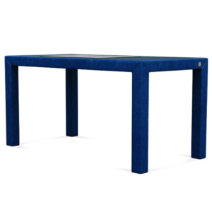 Angle view of classic blue desk