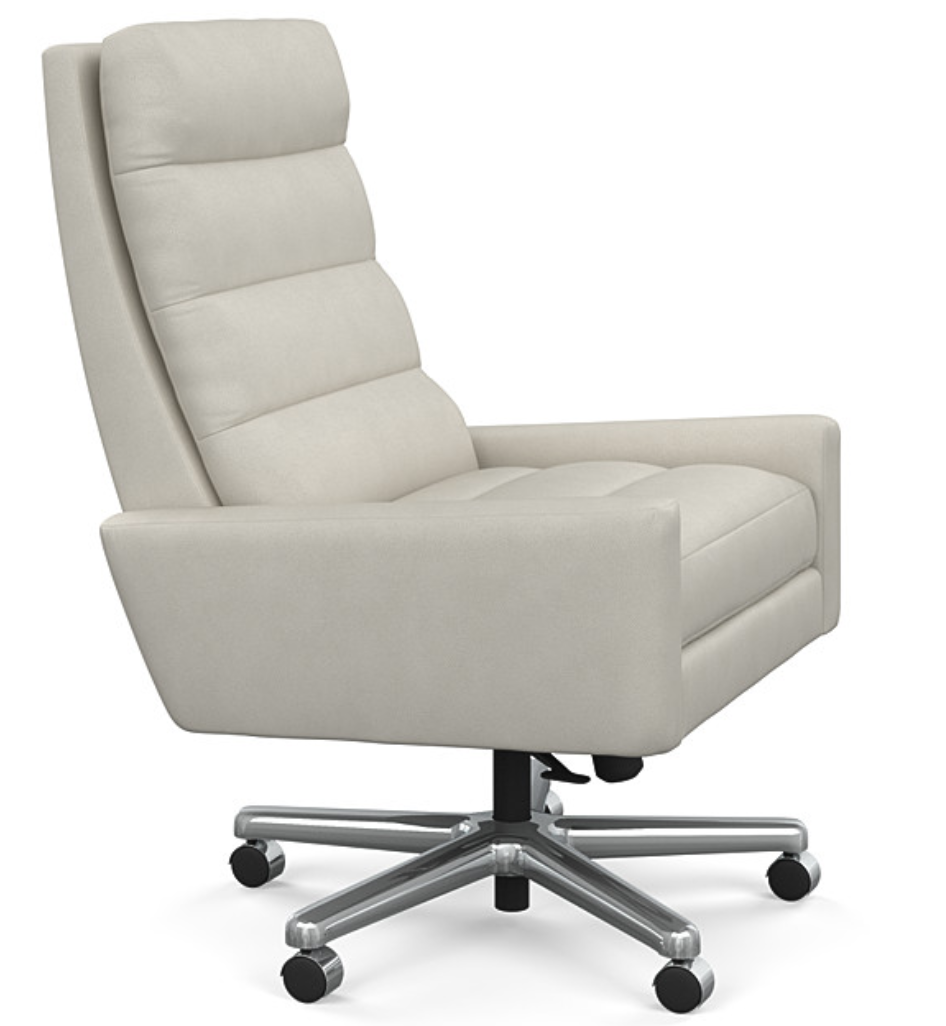 Side View of White Leather Office Chair